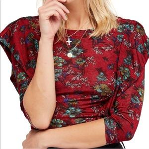 Free People Floral Red Dock Street Ruffle Top